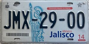 Mexico Jalisco License Mexican Licence Number Plate JMX-29-00