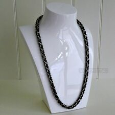 60cm / φ8mm BIZANTINO Collar Cadena Cadena Acero Inoxidable Plata Negro