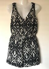 DOTTI Playsuit Size 8 Black Cream Sleeveless Elastic Waist Pockets Romper