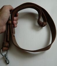 """VINTAGE SOLID LEATHER 7.62x39 RIFLE SLING 48"""" x 1 1/4"""" ADJUSTABLE, W/METAL PARTS"""