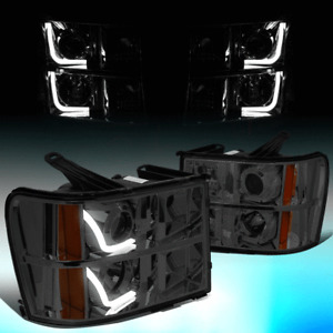 FOR 2007-2014 GMC SIERRA PICKUP SMOKED/AMBER LED DRL PROJECTOR HEADLIGHT LAMPS