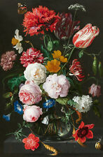 Still-life with Flowers in a Glass Vase 75cm x 49cm Canvas Print