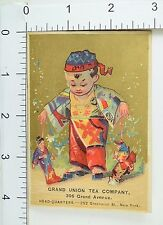 Grand Union Tea Co Adorable Asian Child Kimono Playing With Puppets Toys F64