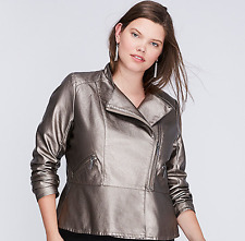 Lane Bryant Gunmetal Metallic Collarless Peplum Moto Jacket Coat 14/16