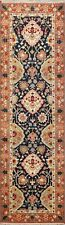 Hand-Knotted Floral Indo Heriz NAVY BLUE Oriental Runner Rug 3x8 ft Wool Carpet
