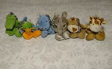 Plush Jungle Animal Key Chains Set of 6 Fun Party Goodie Bags Giraffe Hippo...