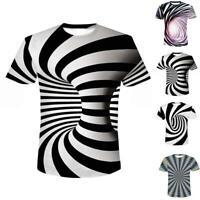 3D Optical illusion T-Shirt Hypnosis Swirl Men Women-Funny Short Sleeve Tee Tops