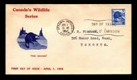 Canada 1954 Wildlife Beaver FDC / Nice Cachet - L12403