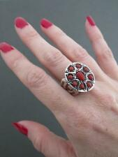 Vintage Silver Salmon Coral Ring