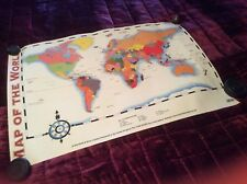 "LARGE MAP OF THE WORLD By SCHOFIELD SIMS MEASURES 30"" x 21"" / ISBN 0-7217-5596-8"