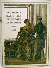 NATIONAL ACADEMY OF MUSIC & DANCE PARIS FRANCE PROGRAM BROCHURE 1933 VINTAGE