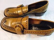 Authentic Retro 1970's Women's Loafers, Butterscotch Leather, Heels, 8.5 N - Nos
