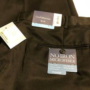 Mens Croft & Barrow Pants Black No Iron Microfiber Dress Pleated Size 40x30 $65