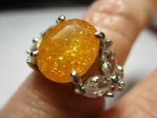 STERLING SILVER ESTATE YELLOW ORANGE AMBER CUBIC ZIRCONIA BUTTERFLY RING SIZE 5