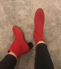 TOPSHOP Red suede Black Silver Stud Mid Heel Ankle Boot Round Toe 7/40 £72 New