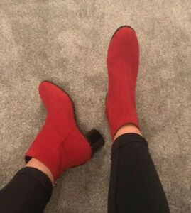 TOPSHOP Red suede Black Silver Stud Mid Heel Ankle Boot Round Toe 7/40 £72