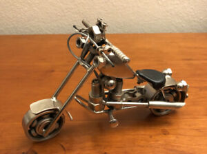 Motorcycle Chopper Beautiful Scrap Metal Desk Art - Welded Handmade Sculpture