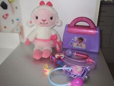 "Doc McStuffins Talking Lambie 14"" Bells- Child Size Doctor Bag Kit  Lot H9"