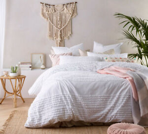 Tufted 100% Washed Cotton White Quilt Cover QUEEN KING Doona Duvet Set