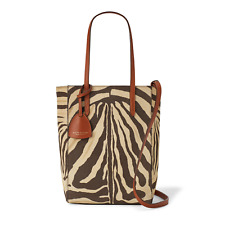 aa0b98830330 Ralph Lauren Purple Label Collection Zebra Suede Leather Mini Modern Tote  Bag