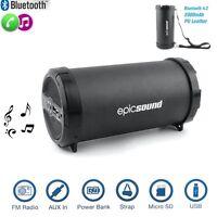 HIFI Wireless Bluetooth Loud Speaker FM Radio & Power Bank & USB &AUX PU Leather