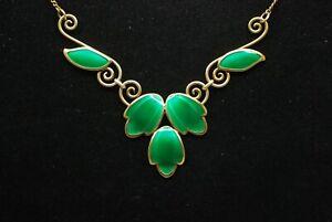 Norwegian Sterling Silver & Green Enamel Necklace Andresen & Scheinpflug Norway