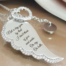 Fashion Angel Wing Crystal Love Heart Pendant Women Charm Necklace Pendant Gift