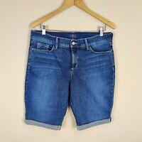 NYDJ Not Your Daughters Jeans Denim Cuffed Shorts Bermuda Blue Stretch 12 Womens