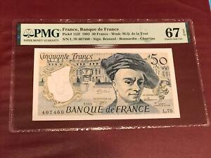 FRANCE FRENCH 50 FRANC  BANK NOTE 1992 PMG 67 GEM UNC EPQ PICK 152f De La Tour
