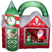 CHRISTMAS 7.5 FT SANTA ANIMATED WORKSHOP ELF CLOCK TOWER AIRBLOWN INFLATABLE
