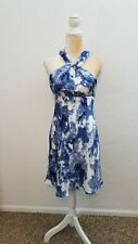 ANDREW MARC NEW YORK WOMENS SZ 4 BLUE FLORAL SLEEVELESS A-LINE PARTY DRESS