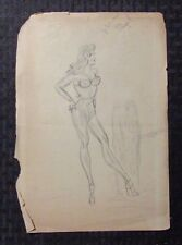 1948 Pin-Up Girl Pencil Art by Angel 7.5x11 VG- Dated July 1 - 1948