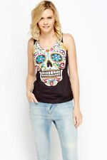 PUNKY FISH STUDDED COLOURFUL MEXICAN SKULL PRINT VEST TOP
