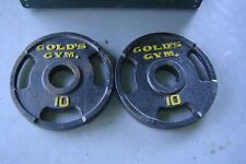 """2 Vintage 10 lb Golds Gym 2"""" Olympic Weight Plates 50 lb Total"""