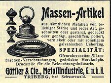 Göttler & Cie. Triberg METALLINDUSTRIE Historische Reklame von 1912