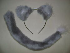 Grey Lion/Wolf/Cat Ears & Tail Fancy Dress Kids & Adult Light Grey One Size New