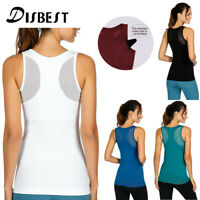 Women's Yoga Tank Tops Stretchy Sports Workout Running Top Vest with Chest Pads