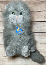 Vtg Dakin Plush Gray Persian Kitty Cat Tag 1983 11� Green Eyes Fluffy Kitten Toy