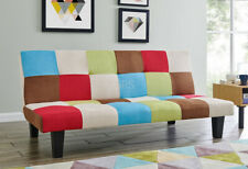 Fabric Sofa Bed 3 Seater Rainbow Patchwork Colour Black Legs Sofabed Recliner