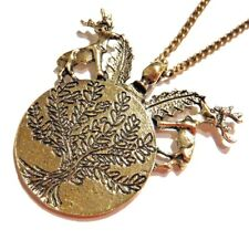 BRONZE DEER & FERN MEDALLION PENDANT NECKLACE tree of life elk stags forest Z4