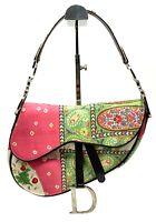 Authentic Christian Dior Saddle Bag CD Logo Paisley Leather Pink Green Rank AB