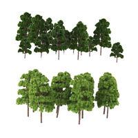 30Pcs Green Fir Pine Tree Models HO N Z Scale Roadway Street Layout Scenery