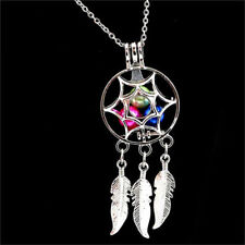 Women Dream Catcher Pearl Cage Floating Locket Necklace NO Akoya Oyster Pearl