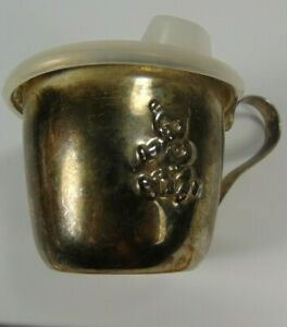 Vintage Silver Plated Baby Sippy Cup Bear Logo With Lid not Polished