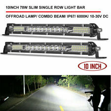 2X 10inch Slim LED Light Bar Single Row Spot Flood Combo for Jeep Truck ATV Boat