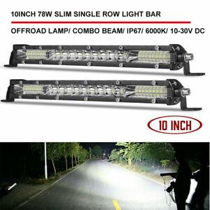 2X 10inch Slim LED Light Bar Single Row Spot Flood Combo for Jeep Truck ATV Boat