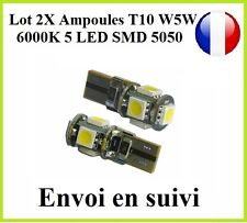 2X Ampoules Veilleuses LED T10 W5W 5 SMD ODB Blanc Pur 6000K