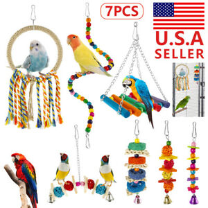 7PCS Parrot Swing Bell Bird Cage Perch Hanging Toys Parakeet Cockatiel Budgie US