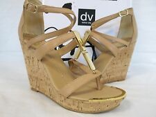 Dolce Vita Size 10 M Tabby Nude Leather Open Toe Wedges New Womens Shoes