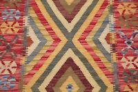 PASTEL Geometric South-West Kilim Turkish Oriental Area Rug Flat-Woven Wool 3x4